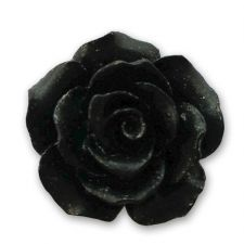 18mm Black Resin Rose Bloom Cabochon